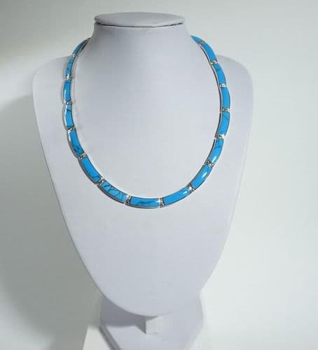 925 Solid Sterling Silver Hand Crafted Necklace, Set With Blue Turquoise Shell